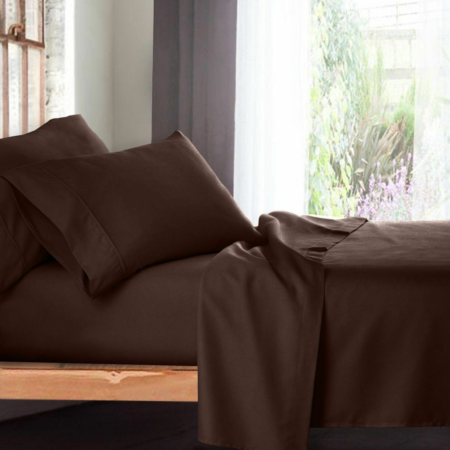 4 PCs Waterbed Sheet Set Rich 100% Cozy Egyptian Cotton 1000 TC Chocolate Solid