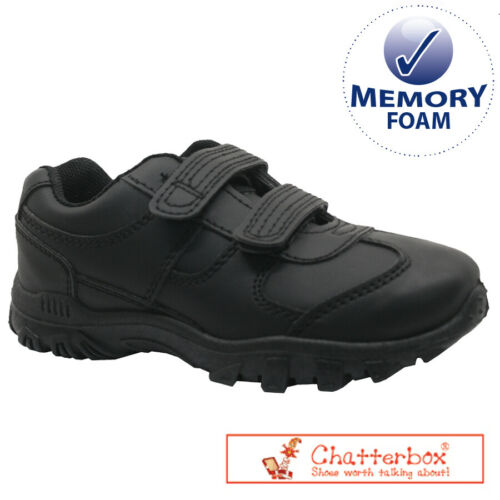 NEW BOYS CHATTERBOX VELCRO MEMORY FOAM SMART CASUAL BLACK SCHOOL TRAINERS SHOES