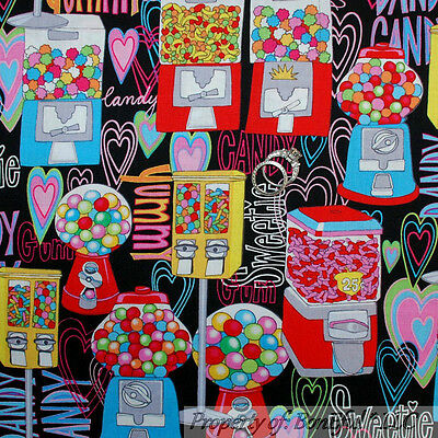 BonEful Fabric Cotton Quilt Rainbow Red Bubble Gum Ball Candy Machine VTG SCRAP