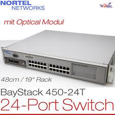 """48CM 19"""" RACK 24-PORT NORTEL NETWORKS NETZWERK SWITCH BAYSTACK 450-24T +OPTICAL"""