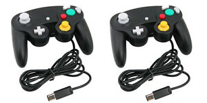 2-x-Black-Wired-Controller-for-Nintendo-GameCube-GC-amp-Wii-Console-Classic-Joypad