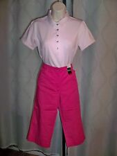 NEW YORK & COM DEEP PINK CITY STRETCH FLAT FRONT PEDAL PUSHER 8 NWT SPRING MUST