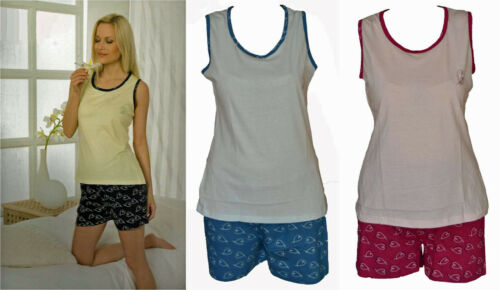 Größen S-XL ärmellos 36-50 Damen Shorty Schlafanzug Pyjama 3 Farbmixe