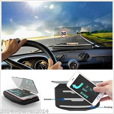360°Rotable Car GPS Navigation HUD Head Up Projection Display Smartphone Holder