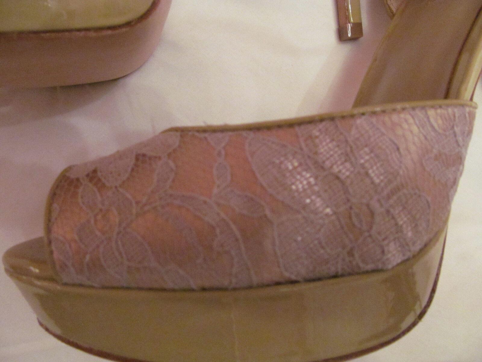 CHARLES DAVID Leder ACANTHUS champagne lace / patent Leder DAVID peep toe platform schuhe 9 3d809f