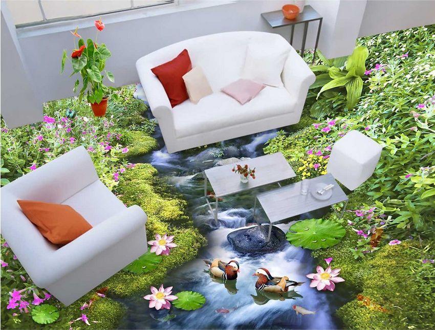 3D foresta fiume erba Pavimento Foto Wallpaper Murales Muro Stampa Decalcomania