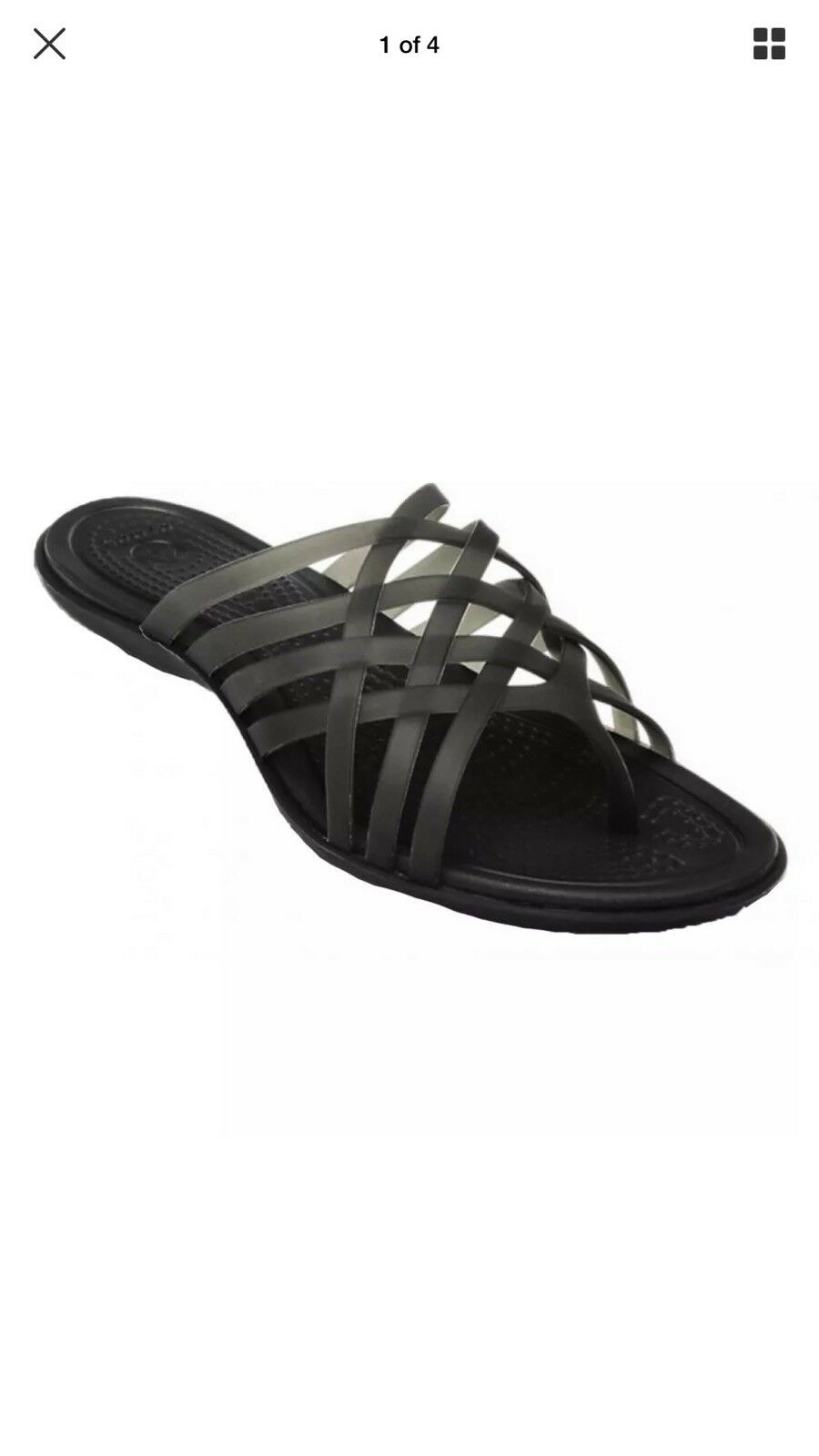 Crocs Huarache Flip Flops Black Size 4