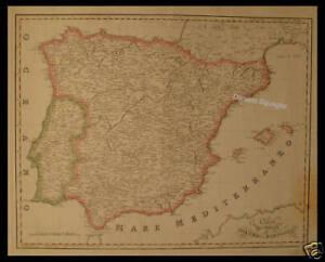 Cartina Geografica Spagna E Formentera.Xix Sec Spagna Portogallo Old Original Map 19th Ebay
