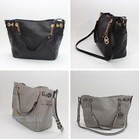 NEW Michael Kors 35T6STCT3L Jet Set Chain Leather Bag Pearl Grey Black NWT