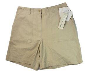 Jones NY Womens Size 12 Large Bermuda Cotton Tan High Waist Chino Short NEW NWT