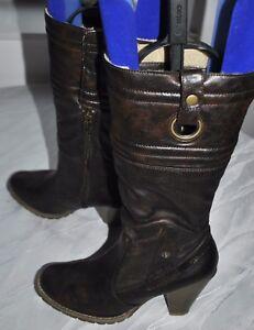 Damen-Tamaris-Stiefel-Stiefeletten-Boots-gefuttert-braun-Gr-39-wie-Neu