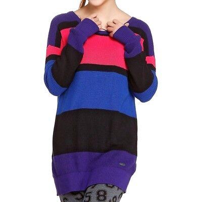 Nuova Moda Adidas Da Donna Long Pullover Pullover A Maglia Abito A Maglia Top Strisce Rosa/nero-mostra Il Titolo Originale Prezzo Di Vendita
