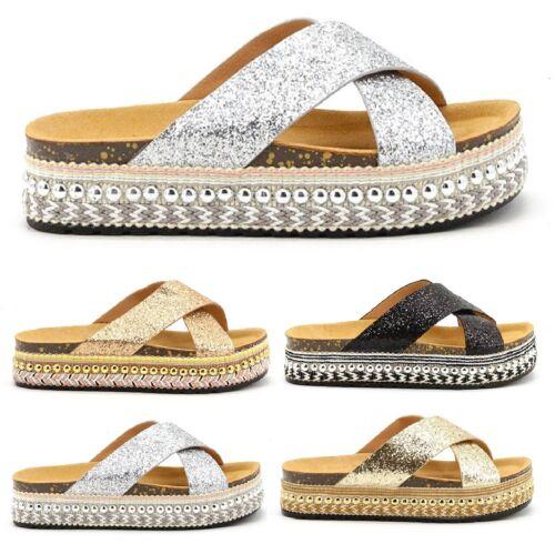 Femme Slip On Mule Sandale Plateforme curseurs Paillettes Bout Ouvert Sandales SZ