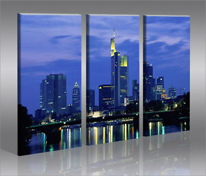 frankfurt 3 bilder bild skyline auf leinwand wandbild poster ebay. Black Bedroom Furniture Sets. Home Design Ideas