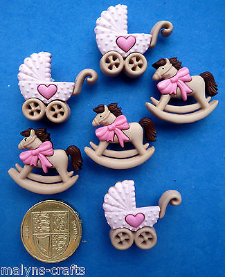 PINK ROCKING HORSE & BUGGY Craft Buttons 1ST CLASS POST Girl Baby Nursery Themed