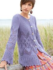 "Elegant  Eyelet Cardigan with Zig Zag Border  34"" -54"" ~ Aran Knitting Pattern"