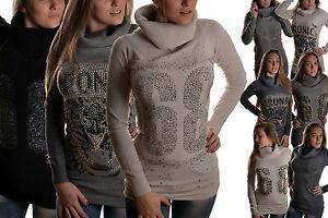 Maglione-collo-alto-maglia-dolcevita-donna-pullover-lupetto-M-MCA01