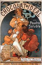 4 Print Set Alphonse Mucha Art Nouveau Deco Chocolat Biscuit Lefevre Utile New