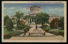 VINTAGE LINEN POSTCARD STATE CAPITOL AND MCKINLEY MEMORIAL COLUMBUS OHIO COND:VG