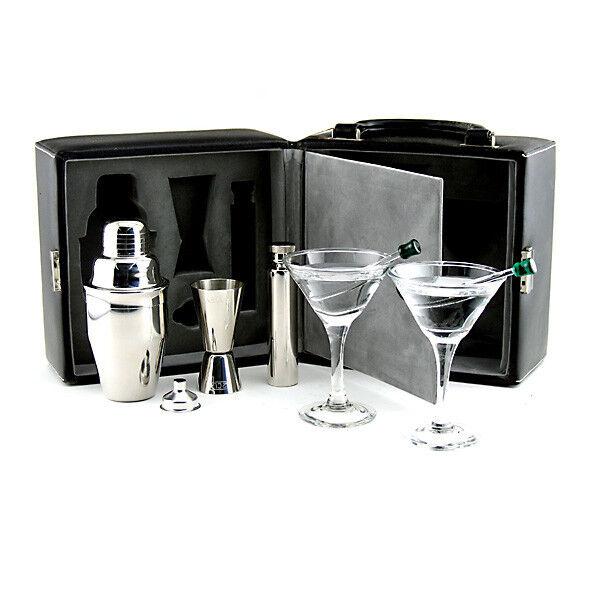 Martini Travel Bar Set w/ Case - Picnic Cocktail Bartend Kit - Pub Drink Mixing