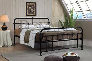Mandy Double Metal Bed Frame Black Hospital Style Small Double King