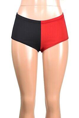 High-Waisted Metallic Diamond Print Red and Black Harley Quinn Shorts XS S M L XL 2XL 3XL plus size cosplay halloween costume shiny short