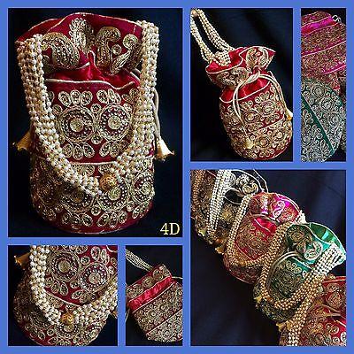 Bollywood Style Bridal Maroon Potli Clutch Dolly Bag-Indian Wedding Accessories
