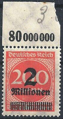 """Deutschland Minr 309apc Farbe """"c"""" Und Infla Berlin Geprüft Vom Plattenoberrand Postfrisch Deutschland Vor 1945"""