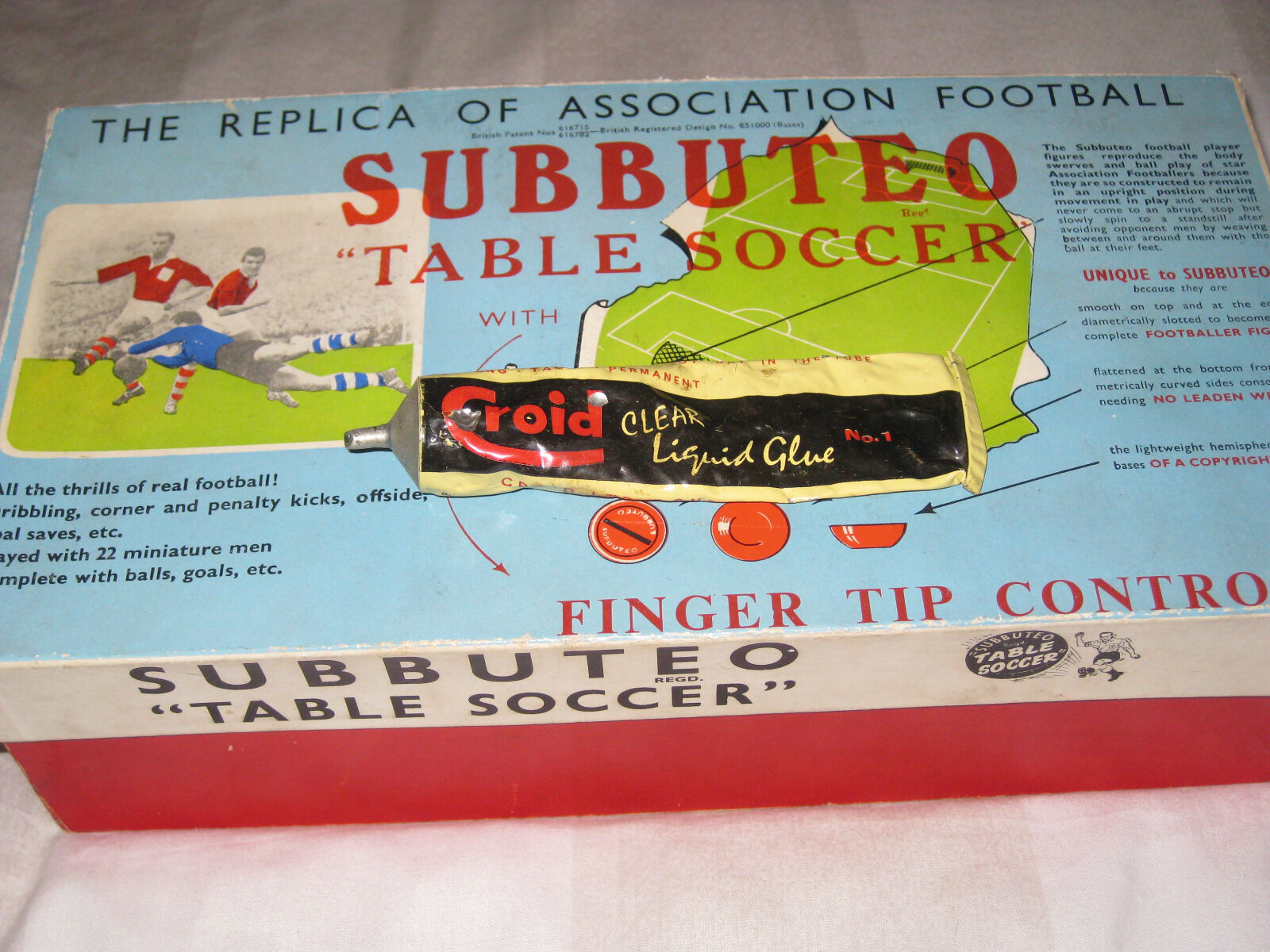 Subbuteo-Table Football Set-Vintage-1950's-bluee Top Set Plus-Very Good Condition