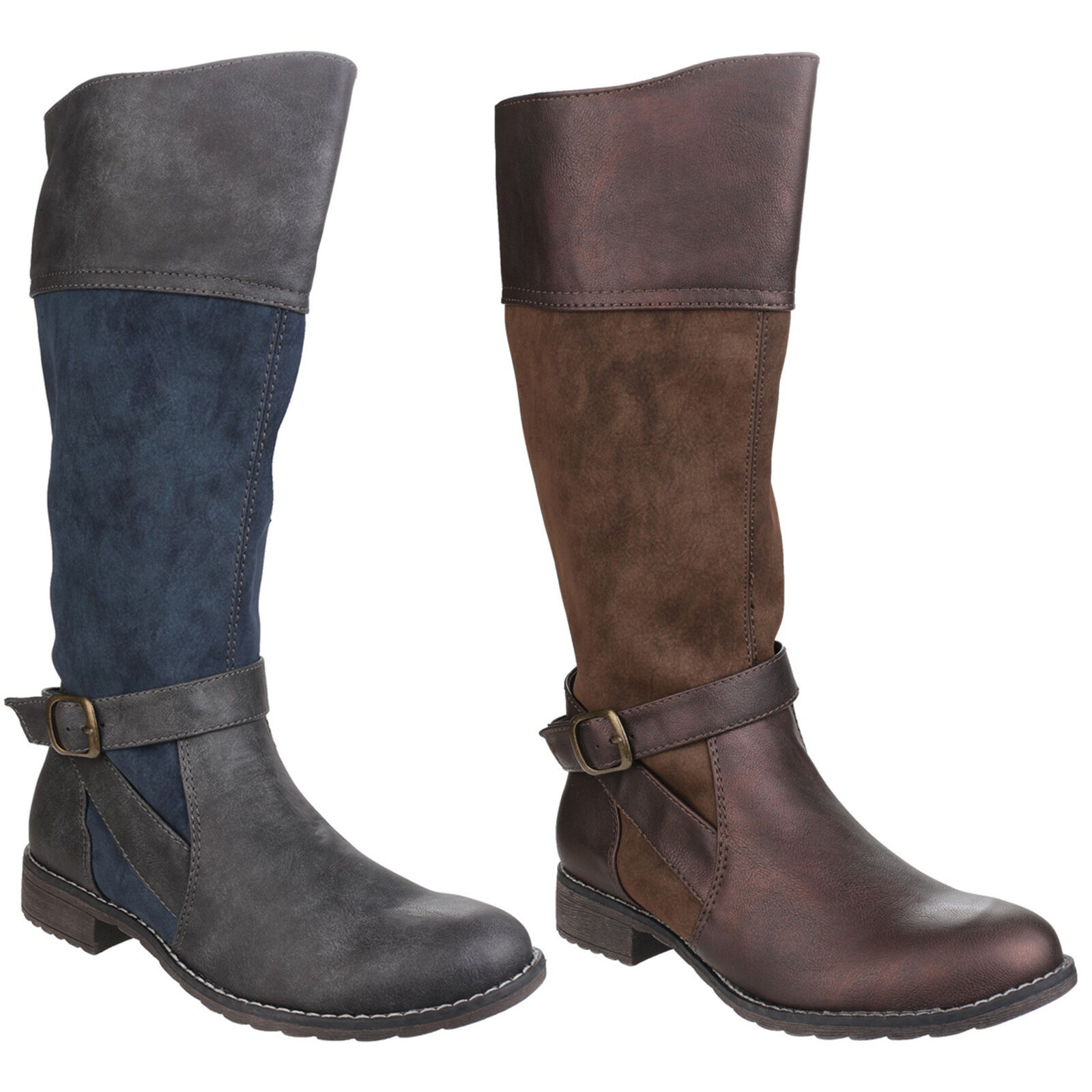 Divaz Garbo Rodilla Rodilla Rodilla Alto Cremallera Zapatos botas de Moda para Mujer de dos tonos UK3-8  contador genuino
