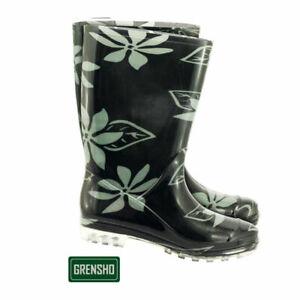 Damen-Gummistiefel-PVC-Stiefel-Regenkleidung-Regenbekleidung-Blumenmuster-36-42