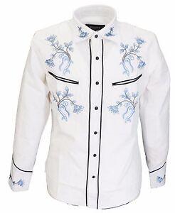 White-Blue-Western-Cowboy-Vintage-retro-Shirts