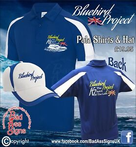 The-BlueBird-Project-Polo-Shirt-and-Cap-Blue-K7-The-Spirit-Of-The-Lake-SMALL-XXL