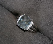 AUTHENTIC DAVID YURMAN 10x8  BLUE TOPAZ AND DIAMOND PETITE WHEATON RING SIZE 6