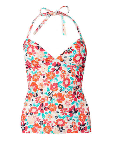 SS179 Ex Marks and Spencer Floral Print Plunge Tankini Top