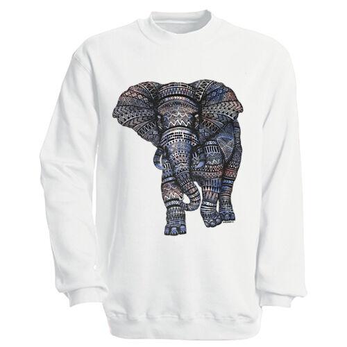 Donna Uomo Felpa Sweater S M L XL XXL elefante S 12992 Bianco