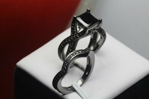 PRINCESS CUT BLACK GOTH STERLING SILVER 925 ENGAGEMENT RING WEDDING RING SET
