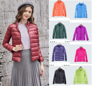 22bfaf91b Details about NEW Light Down Jacket Long Sleeve Women's Stand Collar Slim  Down Coat14 Color A+