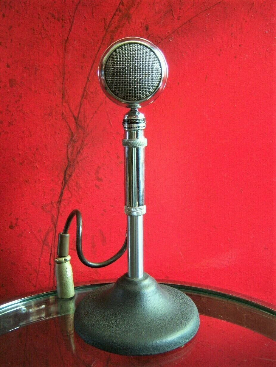 Vintage 1953 Astatic T-3 crystal microphone old w F-11 adapter WORKING High Z