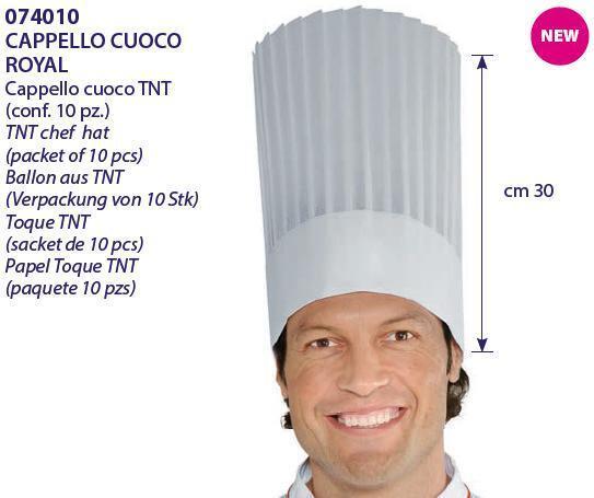 SET 10 PEZZI  CAPPELLO CUOCO ROYAL TNT 30 CM CHEF HAT ISACCO gorro de cociblack