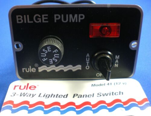 New M55 Rule 3 Way Deluxe Panel Bilge Pump Switch