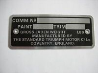 Triumph Spitfire Commission Plate Number Plate 66 - 67