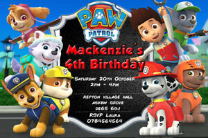 Image Is Loading Personalised Boy Girl Paw Patrol Birthday Party Invites