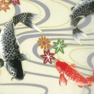 Vente 100/% Japonais en tissu de coton NUTEX Otaku KOI CARPE POISSON Natation Floral