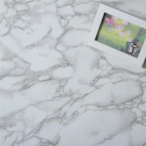White Marble Paper Gray Self Adhesive Shelf Liner Vinyl Film Home Xmas Decor