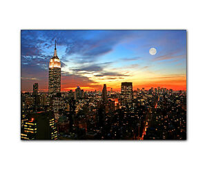 leinwandbild new york skyline sonnenuntergang bild auf leinwand foto kunstdruck ebay. Black Bedroom Furniture Sets. Home Design Ideas