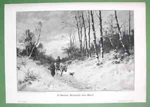 WINTER-SOLITUDE-Farmers-Return-from-Market-VICTORIAN-Antique-Print
