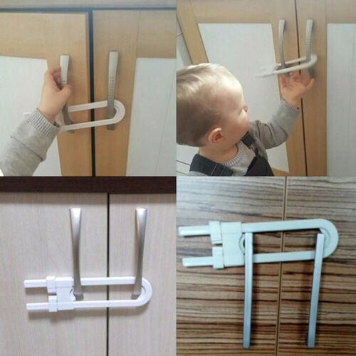 Safe Plastic Kids Lock Latch U Shape Security For Door Drawer Cupboard Babies