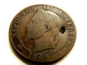 """1862-BB French Cinq (5) Centimes """"Napoleon lll"""" Coin"""