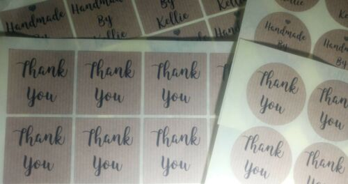 Real Genuine Kraft Personalised Stickers Circle 24 x 45mm any text B /& W image
